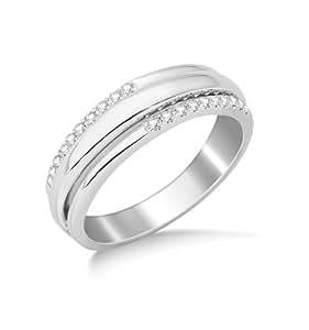 Miore 9ct White Gold Diamond Set Wedding Band Eternity Ring SA960R- Size N 1/2