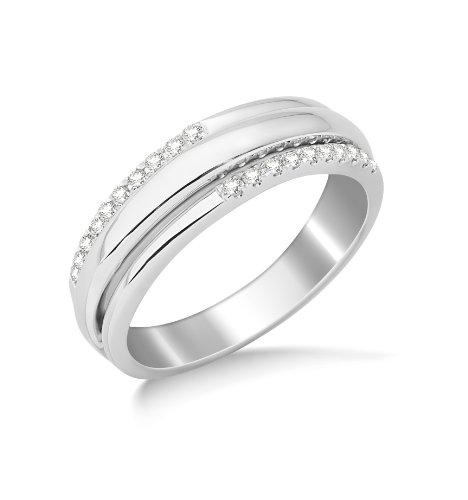 Miore 9ct White Gold Diamond Set Wedding Band Eternity Ring SA960R