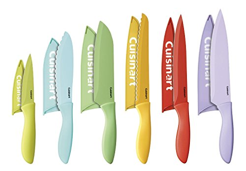 Cuisinart 12-Piece Ceramic Coated Color Knife Set with Blade Guards, Multicolored