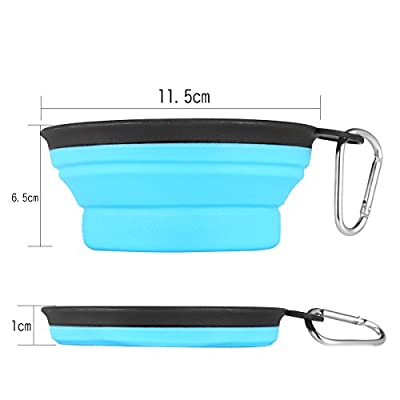 Set of 2 Portable Travel Dog Bowl, Aigou® Lightweight Collapsible Pet Dog Cat Bowl Travel Bowl Water Feeder Bowl with Carabiner