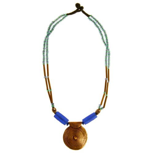 Exclusive Brass Pendant Necklace with White Beads
