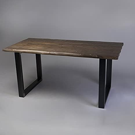 Rough Edge tavolo da pranzo moderno, Fernanda (Brown)-Black (Mild steel), 8 seater W180xD80xH75cm
