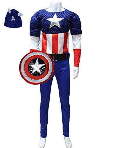 Among Mens Muscle Chest Captain America Costume