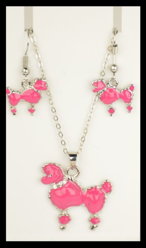 50'S Poodle Jewelry Set (Hot Pink)