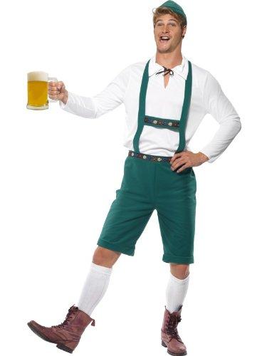 Smiffy's - Costume per travestimento da Oktoberfest, Uomo, incl. pantaloni corti con bretelle, maglia e cappello, colore: Verde, M
