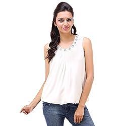 Kashana Poly-Georgette White Embellished Round Neck Sleeveless Partywear Ladies Women Blouse Top