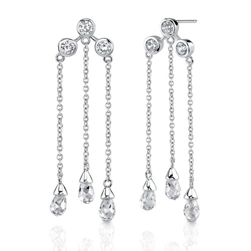 Sterling Silver Celebrity Inspired CZ Diamonds Dangle Earrings dd79757663