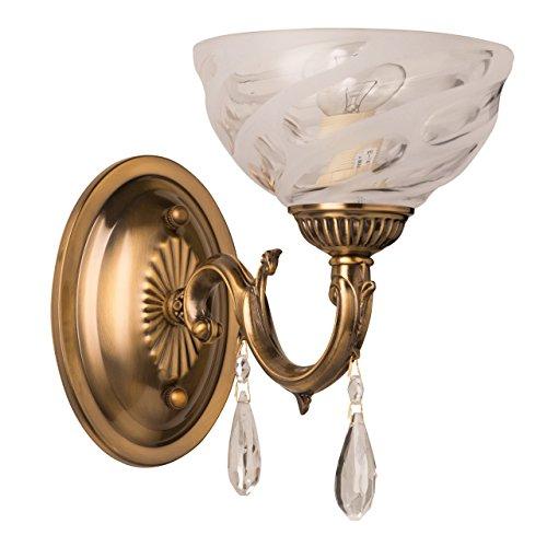 Applique style classique antique, armature en métal couleur laiton, plafonnier en verre E14 1x60W 230V