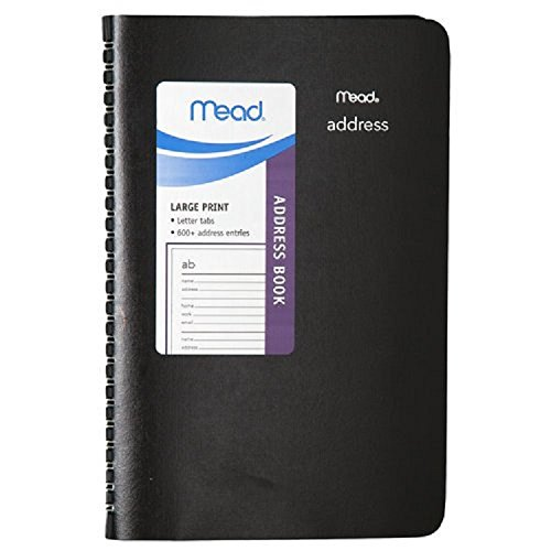 """Black Mead Address Book With Letter Tabs, 600+ Undated Address Entries On 80 Spiral Bound Sheets- 8"""" X 4.5"""" front-1017677"""