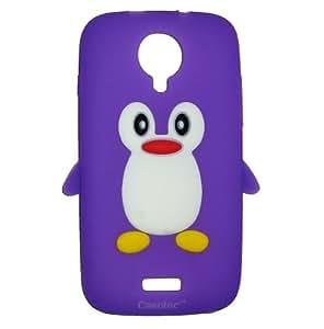 Casotec Penguin Silicone Jelly Back Case Cover for Micromax Canvas HD A116 - Purple