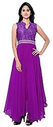Femeie Apparel Women's A-Line Unstitched Dress (Purple)