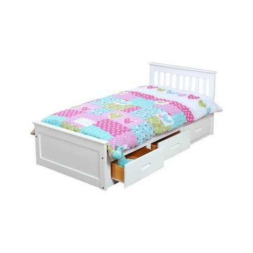 Pine Mission Storage Single Bed Frame Finish: White