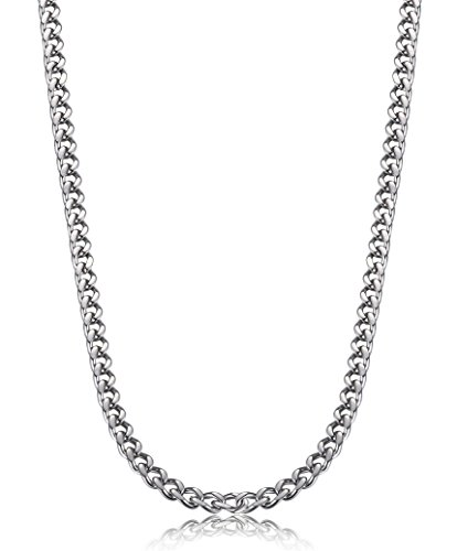 FIBO STEEL 3.5mm Stainless Steel Mens Womens Necklace Curb Link Chain, 24 inches (Chains Men Stainless Steel compare prices)