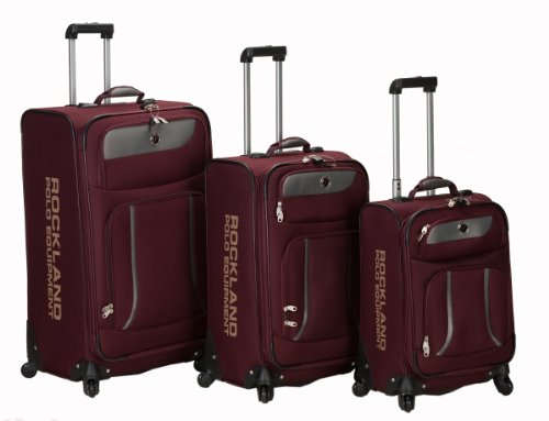 Rockland Luggage Navigator Spinner Polo Equipment 3 Piece Luggage Set, Burgundy, One Size best seller