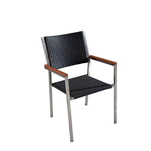 Designer Rattan Gartenstuhl – Edelstahl – Polyrattan – Sessel – Gartenmöbel – Rattanstuhl – GROSSETO günstig online kaufen