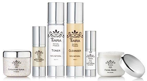 TIARA 100% NATURAL PREMIUM SKIN CARE COMBO (Collagen facial moisturiser + Collagen eye gel + Face mask + Exfoliating scrub + Toner + Cleanser)