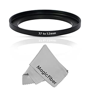 Goja 37-52mm Step-Up Adapter Ring (37mm Lens to 52mm Accessory) + Bonus Ultra Fine Microfiber Lens Cleaning Cloth