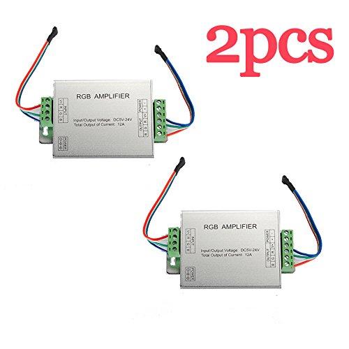 SODIAL(R) 2pcs RGB 5050 SMD 4 LED Strip Light Sign Signal Amplifier Enlarger 12V