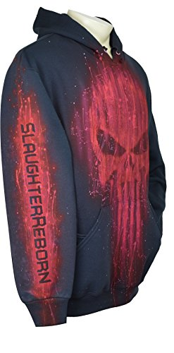 Exotic Gamer Gear The Punisher Hoodie RED Series Airbrushed Tribute + Name, XXL, Black