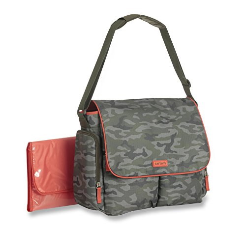 Carter's On The Move Messenger Diaper Bag, Camo/Red - 1