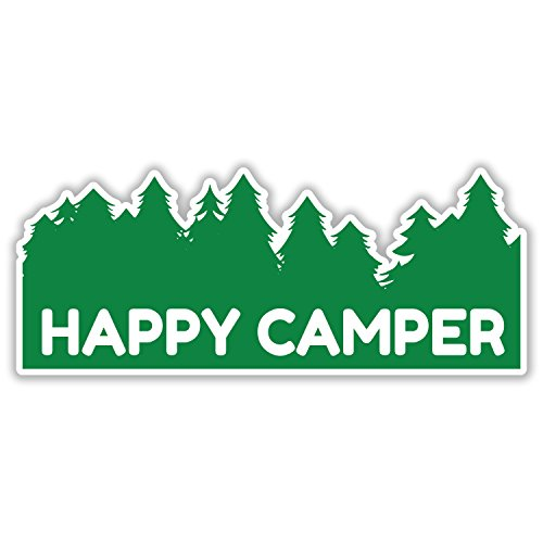 Happy Camper - Funny High Quality Vinyl Decal Sticker - Van Car Truck Woods Camo Rights Hang Loose Fish Hunting Fire