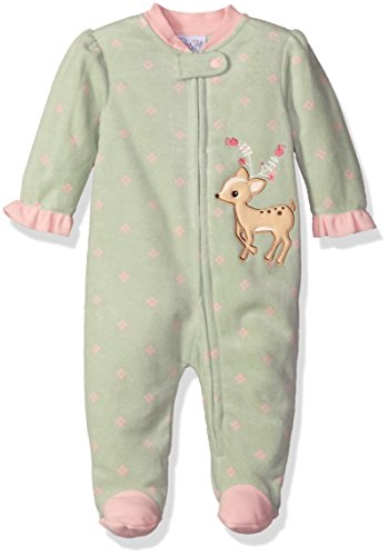 Rene Rofe Baby Girls' Microfleece Coverall Zip Front, Pretty Deer Pistachio, 6-9 Months
