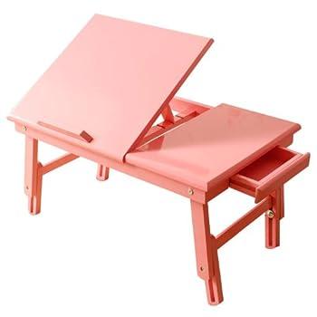 pas cher table de lit pliable pour repas et pc portable double plateaux en bois couleur rose. Black Bedroom Furniture Sets. Home Design Ideas