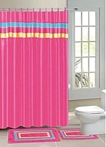gorgeous home 15pc hot pink stripe bathroom bath mats set rug carpet shower curtain. Black Bedroom Furniture Sets. Home Design Ideas