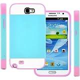 Galaxy Note 2 Case (Teal Blue / Pink), CellJoy® [Vivid Hybrid] **Dual Layer** TPU Case Phone Cover Skin **Card Storage** For Samsung Galaxy Note II N7100 N7105