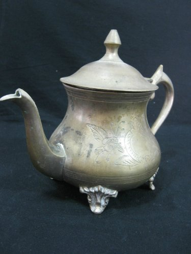 Vintage Moroccan Teapot - Traditional Old Metal Moroccan Serving Tea Pot, Unsigned But Original And Rare !!