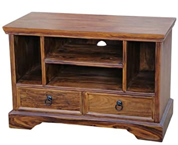 SOLID SHEESHAM WOOD SMALL WIDESCREEN TV LCD PLASMA CABINET STAND UNIT