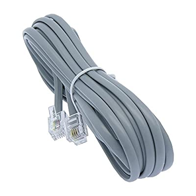 14ft Heavy Duty RJ11 / RJ14 Silver Satin 4 Conductor Telephone Line Cord By Corpco