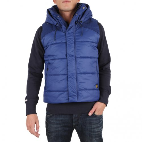 G-Star Raw Mens Whistler Hooded Puffer Vest Gilet Bodywarmer In Swedish Blue – l