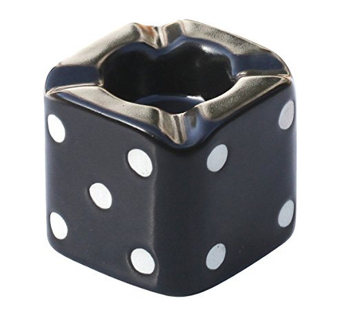 """SouvNear 3.1"""" Ashtray with 4 Cigarette Holder Slots - Small Black Dice Ceramic Ash Tray Office & Bar Indoor & Outdoor - Perfect Gift for Smokers and Great for Personal Use"""