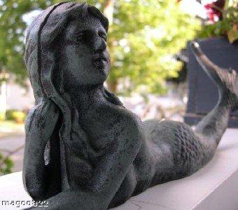 Beautiful Cast Iron Laying Mermaid Statue
