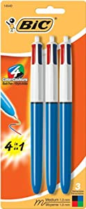 BIC 4-Color Ball Pen, Medium Point, 3 Pack, Assorted Ink (MMP31-ASST)