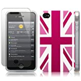IPhone 4S / iPhone 4 'Cool Britannia Pink' (Designed by Creative Eleven) TPU Gel Skin / Case / Cover + Screen Protector - Part Of The Qubits Accessories Range
