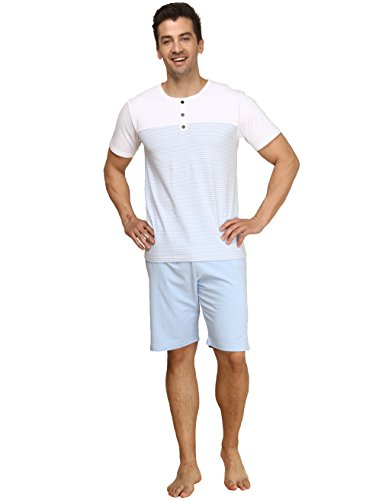 Suntasty Men's Summer Sleepwear Lounge Set Short Sleeve Pajamas Shorts with Top(White,L,1006M)