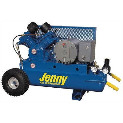5 Hp Electric Motor 230 Volt Two Stage Wheeled Portable Air Compressor Tank Size: 8 Gallon, Air Line Filter - Metal Bowl - 3/8 Npt: Yes, Lubricator - Bowl Type - 3/8 Npt: Yes