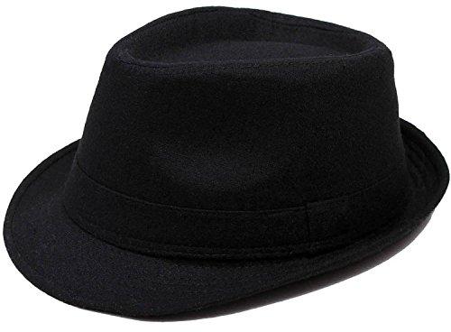 [Simplicity Classic Dapper Manhattan Felt Trilby Fedora Hat,Black] (Gangster Hats For Sale)