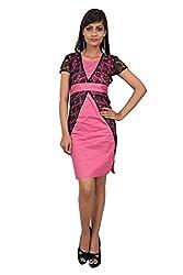 Leafe Women's Cotton Dress (HP17_Pink_M)