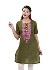 Cotton Womens Olive Green With Block Printed Yoke Kurta