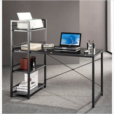 Buy Low Price Comfortable Mad Tech 47.5x25x49 Grey Glass Panel & Steel Frame Computer Office Desk Table (B004W0MIV8)