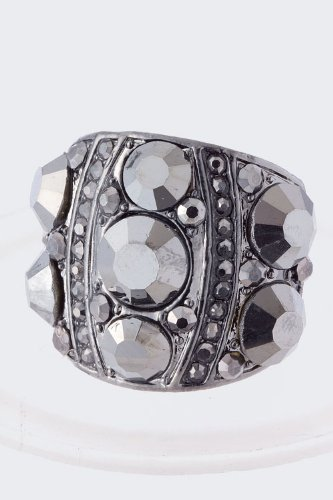 Trendy Fashion Jewelry Crystal Studded Metal Ring By Fashion Destination | (Hematite)