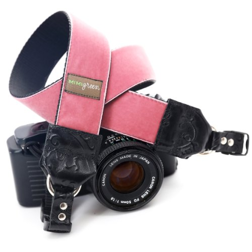 Mimi Green 'Claire' Pink Velvet DSLR Camera Strap