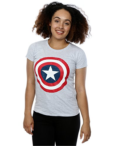 Marvel Donna Captain America Distressed Shield Maglietta Medium Heather Grey