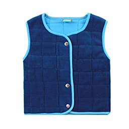 Bnspl Unisex kids\' Button Sleeveless Collar Solid Fleece Vest