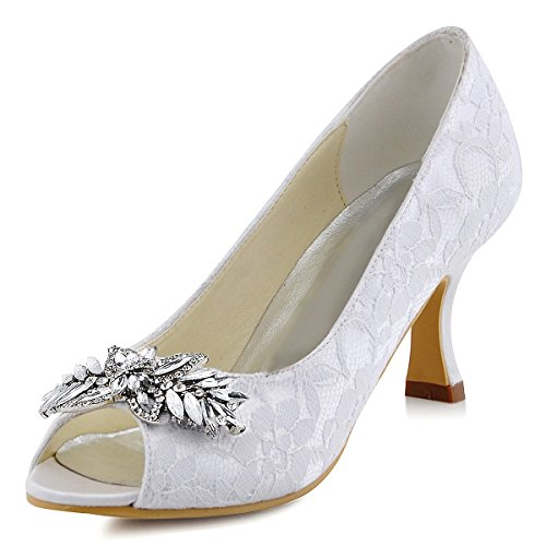 ElegantPark HP1538 Women Pumps Peep Toe Lace Mid Heel Leaves clips Rhinestones Wedding Bridal Shoes White US 10