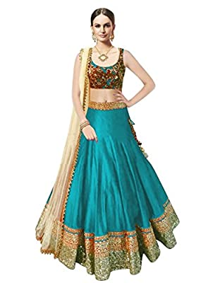 Janasya Women's Sky Blue Embroidered Banglori Silk Lehenga