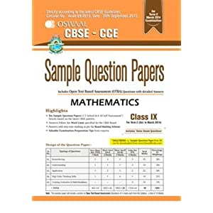 Oswaal CBSE CCE Sample Question Papers, Term II (October to March 2014) Mathematics for Class 9